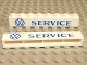 Part No: crssprt01pb05  Name: Brick 1 x 8 without Bottom Tubes with Cross Side Supports with Blue 'VW SERVICE' Pattern