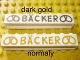 Part No: crssprt01pb27a  Name: Brick 1 x 8 without Bottom Tubes with Cross Side Supports with Gold 'Bäcker' and Pretzels Wide Pattern (BACKER)