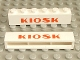 Part No: crssprt02pb21  Name: Brick 1 x 6 without Bottom Tubes with Cross Side Supports with Red 'KIOSK' Bold Pattern
