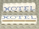 Part No: crssprt02pb23  Name: Brick 1 x 6 without Bottom Tubes with Cross Side Supports with Blue 'HOTEL' Curvy Pattern
