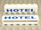 Part No: crssprt02pb26  Name: Brick 1 x 6 without Bottom Tubes with Cross Side Supports with Blue 'HOTEL' Thick Pattern