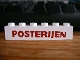 Part No: crssprt02pb40  Name: Brick 1 x 6 without Bottom Tubes with Cross Side Supports with Red 'POSTERIJEN' Bold Pattern