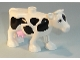 Part No: dupcow1c01pb01  Name: Duplo Cow Front Leg Forward with Black Spots and Pink Udder Pattern