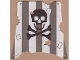 Part No: sailbb11  Name: Cloth Sail Square with Dark Gray Stripes, Skull and Crossbones Pattern, Damage Cutouts