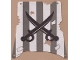 Part No: sailbb12  Name: Cloth Sail Square with Dark Gray Stripes, Crossed Cutlasses Pattern, Damage Cutouts