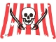 Part No: sailbb18  Name: Cloth Sail Rectangle with Red Stripes, Skull and 2 Cutlasses Pattern, Damage