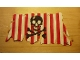Part No: sailbb25  Name: Cloth Sail 21 x 11 with Red Stripes, Skull and Crossbones Pattern, Tatters