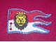 Part No: x376px6  Name: Cloth Flag 8 x 5 Wave with Royal Knights Lion Head on Red and White Background Pattern