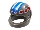 Part No: 2446pb14  Name: Minifigure, Headgear Helmet Standard with Red/White Circles and Blue/White Striped Pattern