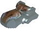 Part No: 30459pb05  Name: Dinosaur Head Tyrannosaurus rex, Jaw Top, Set 1371 Pattern - Dark Orange and Light Gray Scales