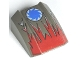 Part No: 30602pb012  Name: Slope, Curved 2 x 2 Lip, No Studs with Red Flames/Blue Star Pattern (Shredd) - Set 4570