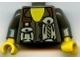 Part No: 973pb0070c01  Name: Torso Rock Raiders Two Pouches on Chest Pattern (Docs) / Dark Gray Arms / Yellow Hands