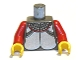 Part No: 973px115c01  Name: Torso Castle Knights Kingdom Plate Armor Silver Pattern / Red Arms / Yellow Hands