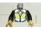 Part No: 973px116c01  Name: Torso Castle Knights Kingdom Plate Armor Gold and Silver Female Pattern / Black Arms / Yellow Hands