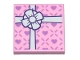 Part No: 11203pb035  Name: Tile, Modified 2 x 2 Inverted with Gift Wrap White Bow and Small Lavender Hearts Pattern