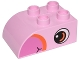 Part No: 2302pb10  Name: Duplo, Brick 2 x 3 with Curved Top and Dark Pink Beak and Eye Pattern on Both Sides