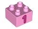 Part No: 3437pb065  Name: Duplo, Brick 2 x 2 with Number 1 Dark Pink Pattern