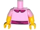 Part No: 973pb1996c01  Name: Torso Simpsons Dress with Magenta Collar and Belt Pattern / Yellow Arms with Bright Pink Short Sleeves Pattern / Yellow Hands