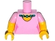 Part No: 973pb2003c01  Name: Torso Simpsons Dress with Round Neckline and Dark Turquoise Necklace Pattern / Yellow Arms with Bright Pink Short Sleeves Pattern / Yellow Hands