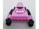 Part No: 973pb2562c01  Name: Torso Tank Top over Black Shirt, White Batman Logo, Dark Pink Sash Pattern / Bright Pink Arms with Dark Pink Stripes Pattern / Black Hands