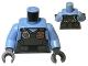 Part No: 973pb2162c01  Name: Torso Police Shirt with Dark Bluish Gray Vest, Gold Badge, Radio and 'POLICE' Pattern on Back / Bright Light Blue Arms / Dark Bluish Gray Hands