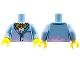Part No: 973pb3074c01  Name: Torso Jacket with Gold Bow Tie and Bright Pink Splotches Pattern / Bright Light Blue Arms / Yellow Hands