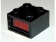 Part No: 08010bc02  Name: Electric, Light Brick 12V 2 x 2 with 3 Plug Holes, Trans-Red Diffuser Lens