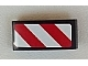 Part No: 11477pb015L  Name: Slope, Curved 2 x 1 No Studs with Red and White Danger Stripes (Red and White Corners) Pattern Model Left Side (Sticker)