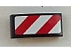 Part No: 11477pb015R  Name: Slope, Curved 2 x 1 No Studs with Red and White Danger Stripes (Red and White Corners) Pattern Model Right Side (Sticker)