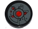 Part No: 14769pb045  Name: Tile, Round 2 x 2 with Bottom Stud Holder with Oscilloscope, Armor Plates and Black and Red Circles Pattern (Sticker) - Set 76027