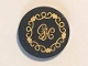Part No: 14769pb115  Name: Tile, Round 2 x 2 with Bottom Stud Holder with Cushion with Gold 'GH', Hearts and Swirls on Clear Background Pattern (Sticker) - Set 41101