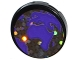 Part No: 14769pb166  Name: Tile, Round 2 x 2 with Bottom Stud Holder with Dark Purple Flat Earth Map Pattern (Sticker) - Set 41130