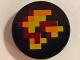 Part No: 14769pb205  Name: Tile, Round 2 x 2 with Bottom Stud Holder with Pixelated Fire Pattern