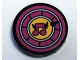 Part No: 14769pb230  Name: Tile, Round 2 x 2 with Bottom Stud Holder with Magenta Musical Note in Yellow Circle with Magenta Border Pattern (Sticker) - Set 41346