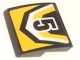 Part No: 15068pb133  Name: Slope, Curved 2 x 2 No Studs with Black Number 5 and Yellow and Black Pattern (Sticker) - Set 60148