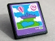 Part No: 15210pb029  Name: Road Sign Clip-on 2 x 2 Square Open O Clip with 'TV', Heartlake City, Clouds and Balloon on Screen Pattern (Sticker) - Set 41109