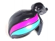 Part No: 15427pb01  Name: Minifig, Headgear Hair Female Ponytail Off-center with Magenta and Medium Azure Stripes Pattern