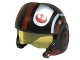 Part No: 21566c01pb01  Name: Minifigure, Headgear Helmet SW Rebel Pilot Raised Front and Microphone with Trans-Yellow Visor with Red and White Stripes and Rebel Logo Pattern