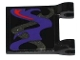 Part No: 2335pb123  Name: Flag 2 x 2 Square with Dark Purple, Pearl Dark Gray and Red Swirls Pattern on Both Sides Middle (Stickers) - Set 70728