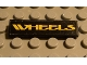 Part No: 2431pb028  Name: Tile 1 x 4 with Yellow 'WHEELS' on Black Background Pattern (Sticker) - Set 8440