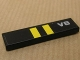 Part No: 2431pb115  Name: Tile 1 x 4 with Two Yellow Stripes on Black Background and 'V8' Pattern (Sticker) - Set 8154