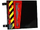 Part No: 2525pb009R  Name: Flag 6 x 4 with Black and Yellow Danger Stripes, Hatch with 3 Screws and Dark Bluish Gray Splatters Pattern Model Right Side (Sticker) - Set 70750