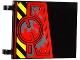 Part No: 2525pb010L  Name: Flag 6 x 4 with Black and Yellow Danger Stripes, Hatch with 4 Screws and Dark Bluish Gray Splatters Pattern Model Left Side (Sticker) - Set 70750