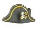 Part No: 2528pb04  Name: Minifigure, Headgear Hat, Pirate Bicorne with Gold Captain Pattern