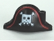 Part No: 2528pb05  Name: Minifig, Headgear Hat, Pirate Bicorne with Large Square Skull and Crossbones and Red Line Pattern