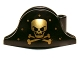 Part No: 2528pb06  Name: Minifigure, Headgear Hat, Pirate Bicorne with Gold Skull, Crossbones and Dots Pattern