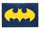 Part No: 26603pb002  Name: Tile 2 x 3 with Bright Light Orange Bat Symbol on Dark Blue Background Pattern (Sticker) - Set 41230