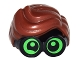Part No: 28149pb02  Name: Minifigure, Hair Combo, Large Thick Glasses with Reddish Brown Hair, Parted and Wavy with Bright Green Lenses, Partial Wink on Right Eye Pattern