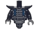 Part No: 28680pb01c01  Name: Torso, Modified Short with Smooth Armor Breastplate with Shoulder Pads and Silver Armor and Dark Blue Tassels Pattern / Black Arms / Black Hands