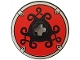 Part No: 2958pb004  Name: Technic, Disk 3 x 3 with Viking Shield Black Curly / Red Pattern (Sticker)